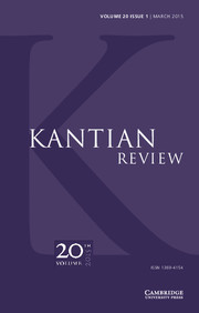 Kantian Review Volume 20 - Issue 1 -