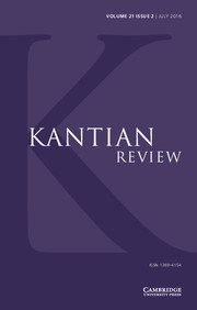 Kantian Review Volume 21 - Issue 2 -