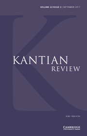 Kantian Review Volume 22 - Issue 3 -