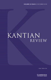 Kantian Review Volume 23 - Special Issue4 -  Special Issue on Kant & Rawls
