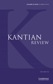 Kantian Review Volume 24 - Issue 1 -