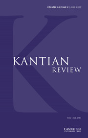 Kantian Review Volume 24 - Issue 2 -