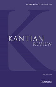 Kantian Review Volume 24 - Issue 3 -