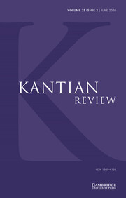 Kantian Review Volume 25 - Issue 2 -