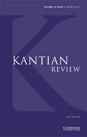 Kantian Review Volume 26 - Issue 1 -