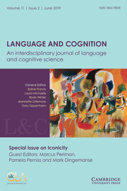 Language and Cognition Volume 11 - Issue 2 -  Special Issue on Iconicity