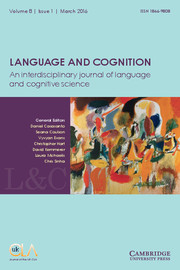 Language and Cognition Volume 8 - Issue 1 -