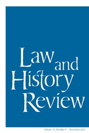 Law and History Review Volume 31 - Issue 4 -