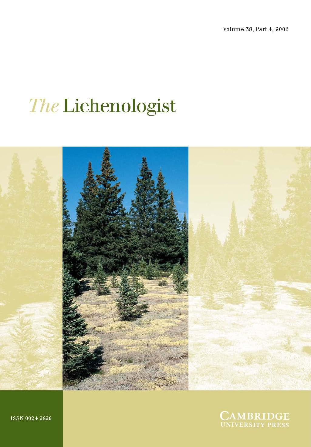 The Lichenologist Volume 38 - Issue 4 -