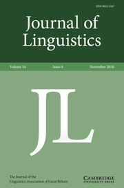 Journal of Linguistics Volume 54 - Issue 4 -
