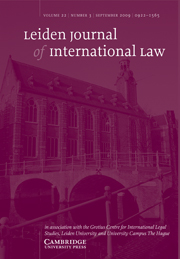 Leiden Journal of International Law Volume 22 - Issue 3 -