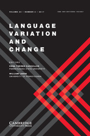 Language Variation and Change Volume 29 - Issue 2 -