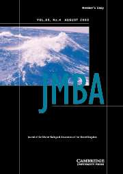 Journal of the Marine Biological Association of the United Kingdom Volume 83 - Issue 4 -