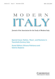 Modern Italy Volume 23 - Special Issue4 -  Special Issue: Nation, 'Race', and Racisms in Twentieth-Century Italy