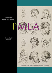 PMLA Volume 130 - Issue 5 -  Special Topic: Emotions