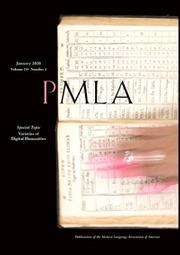 PMLA Volume 135 - Issue 1 -  Special Topic Varieties of Digital Humanities