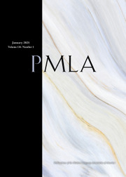 PMLA:  Publications of the Modern Language Association cover