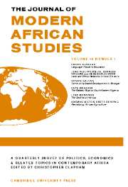 The Journal of Modern African Studies Volume 45 - Issue 1 -