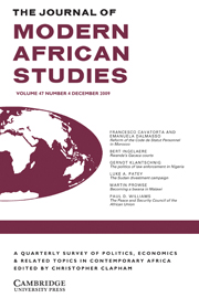 The Journal of Modern African Studies Volume 47 - Issue 4 -