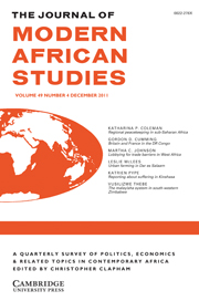 The Journal of Modern African Studies Volume 49 - Issue 4 -