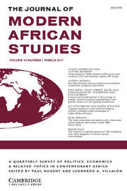 The Journal of Modern African Studies Volume 55 - Issue 1 -