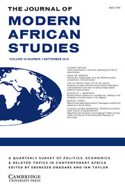 The Journal of Modern African Studies Volume 56 - Issue 3 -