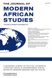 The Journal of Modern African Studies Volume 56 - Issue 4 -