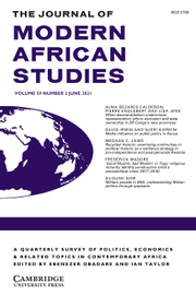 The Journal of Modern African Studies Volume 59 - Issue 2 -