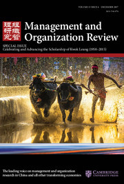 Management and Organization Review Volume 13 - Issue 4 -  Special Issue Celebrating and Advancing the Scholarship of Kwok Leung (1958–2015)