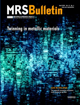 MRS Bulletin Volume 41 - Issue 4 -  Twinning in Metallic Materials