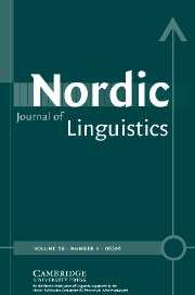 Nordic Journal of Linguistics Volume 29 - Issue 1 -