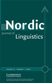 Nordic Journal of Linguistics Volume 32 - Issue 1 -