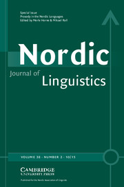 Nordic Journal of Linguistics Volume 38 - Issue 2 -  Prosody in the Nordic Languages