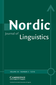 Nordic Journal of Linguistics Volume 39 - Issue 3 -