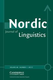 Nordic Journal of Linguistics Volume 40 - Issue 1 -