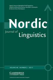 Nordic Journal of Linguistics Volume 40 - Issue 2 -  Receptive Multilingualism