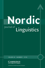 Nordic Journal of Linguistics Volume 41 - Issue 1 -