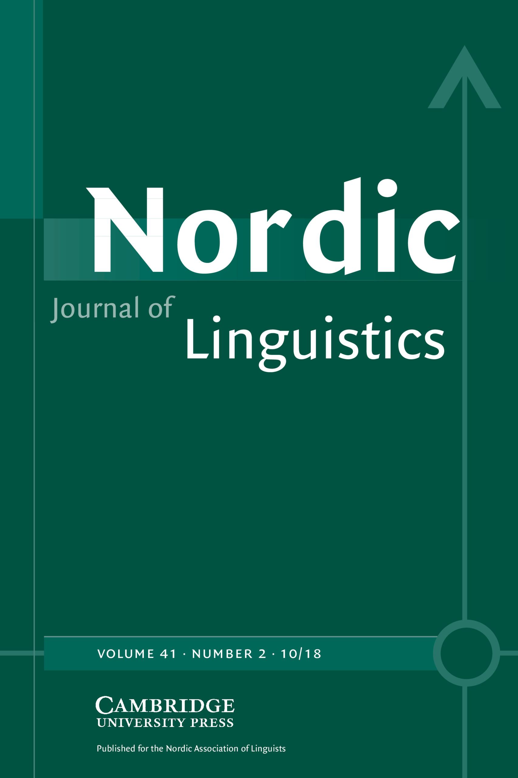 Nordic Journal Of Linguistics Volume 41 Forensic Linguistics European Perspectives Cambridge Core