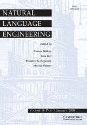 Natural Language Engineering Volume 14 - Issue 1 -