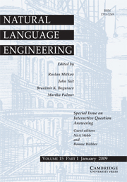 Natural Language Engineering Volume 15 - Issue 1 -  Interactive Question Answering