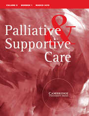 Palliative & Supportive Care Volume 8 - Issue 1 -