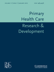 Primary Health Care Research & Development Volume 11 - Issue 1 -