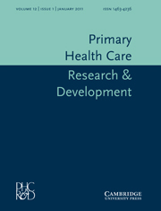 Primary Health Care Research & Development Volume 12 - Issue 1 -