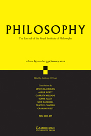 Philosophy Volume 85 - Issue 1 -