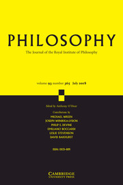 Philosophy Volume 93 - Issue 3 -