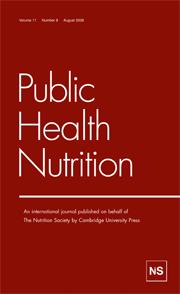 Public Health Nutrition Volume 11 - Issue 8 -