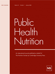 Public Health Nutrition Volume 12 - Issue 1 -