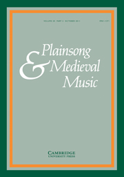 Plainsong & Medieval Music Volume 20 - Issue 2 -
