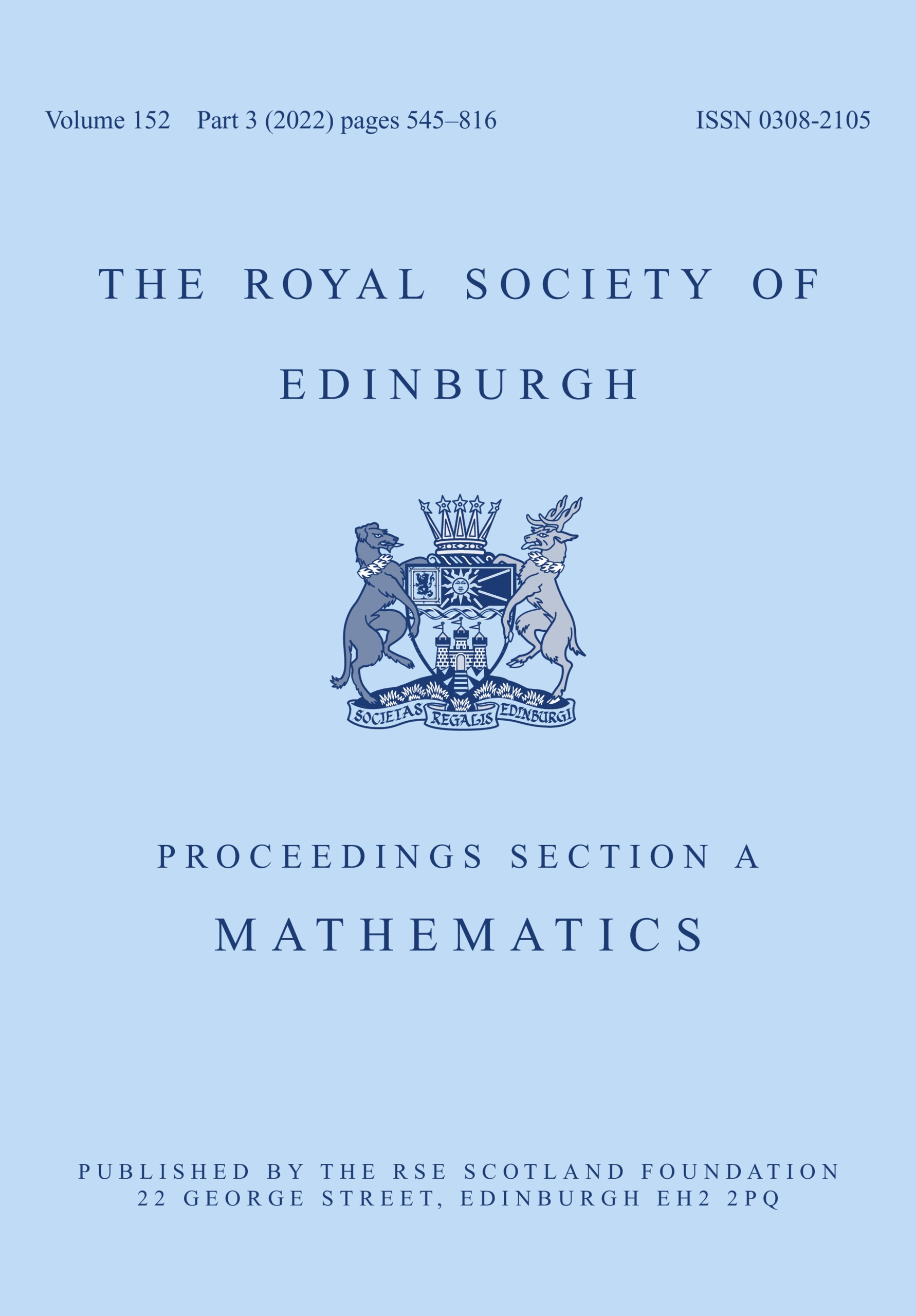 Proceedings Of The Royal Society Of Edinburgh Section A