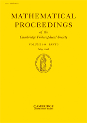 Mathematical Proceedings of the Cambridge Philosophical Society Volume 144 - Issue 3 -